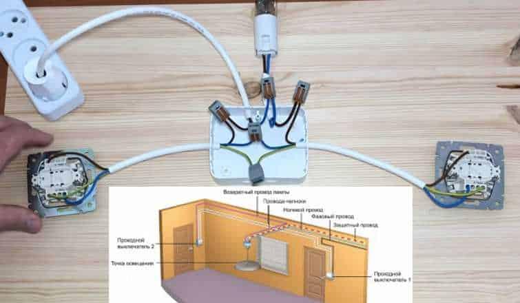 подключение проходного выключателя одноклавишного