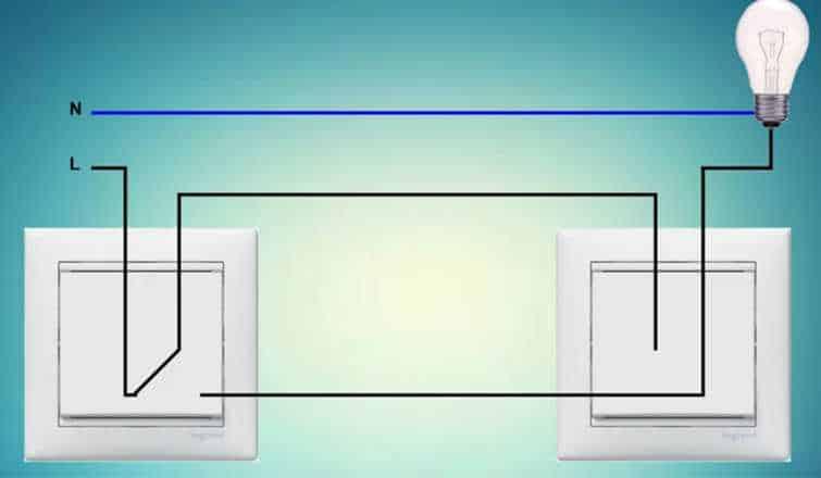 проходной выключатель схема подключения лампы